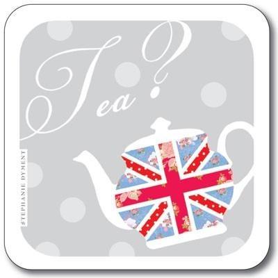 Buy the Customworks Union Jack Anyone for Tea Drinks Coaster online at smithsofloughton.com