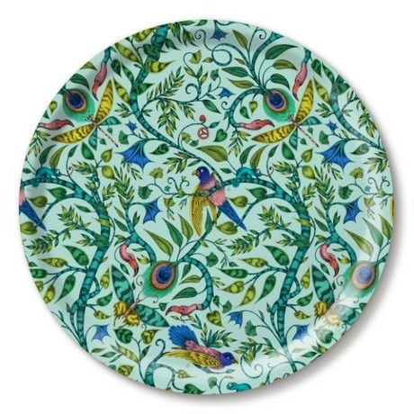 Buy the Jamida Emma J Shipley Turquoise Rousseau Round Drinks Tray online at smithsofloughton.com
