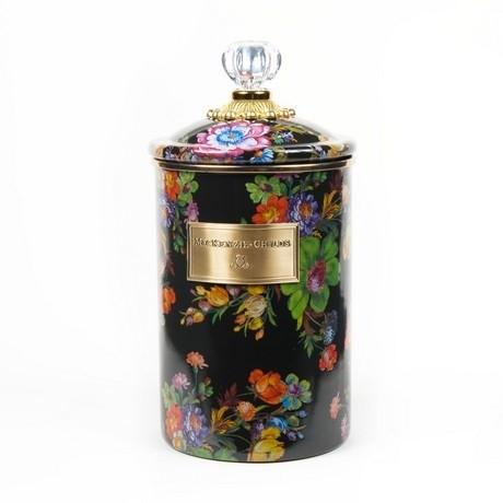 Buy the large MacKenzie-Childs Black Flower Market Canister online at smithsofloughton.com