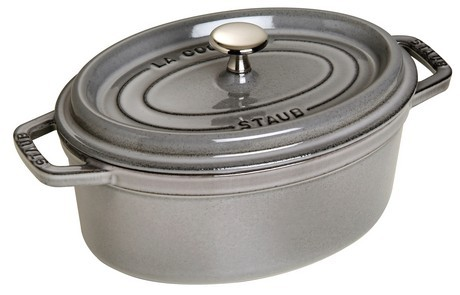 Buy the Staub Gray Oval Cast Iron Cocotte 29cm online at smithsofloughton.com