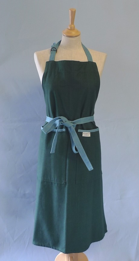 Buy the Sterck Carom Two Tone Denim Apron in Green online at smithsofloughton.com