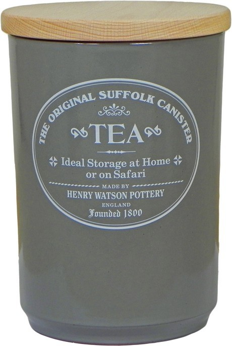 Buy the Watson Original Suffolk Slate Grey Tea Canister With Beech Lid online at smithsofloughton.com
