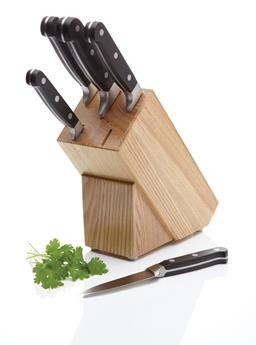 Buy the Master Class Halo 5 Piece Knife Set with Oak Wood Storage Block online at www.smithsofloughton.com