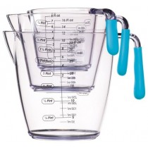 Buy the Colourworks 3 Piece Blue Acrylic Measuring Jug Set online at smithsofloughton.com