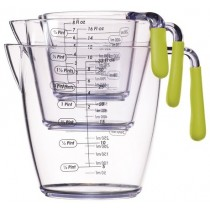Buy the Colourworks 3 Piece Green Acrylic Measuring Jug Set online at smithsofloughton.com