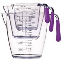 Buy the Colourworks 3 Piece Purple Acrylic Measuring Jug Set online at smithsofloughton.com