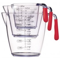 Buy the Colourworks 3 Piece Red Acrylic Measuring Jug Set online at smithsofloughton.com