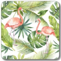 Buy the Customworks Flamingo with Leaf Background Drinks Coaster online at smithsofloughton.com