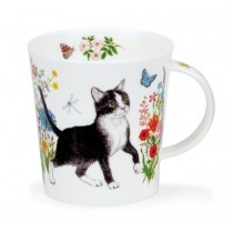 Buy the Dunoon Lomond Mug Floral Cats Black & White online at smithsofloughton.com