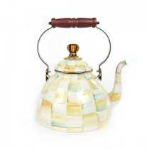 Buy the Large MacKenzie Childs Parchment Check Enamel Kettle online at smithsofloughton.com