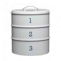 Buy the Living Nostalgia French Grey Three Tier Cake Tin Set online at smithsofloughton.com