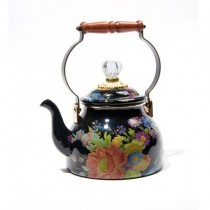 Buy the MacKenzie-Childs Black Flower Market Enamel Kettle online at smithsofloughton.com