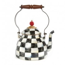 Buy the MacKenzie-Childs Courtly Check Enamel Tea Kettle online at smithsofloughton.com