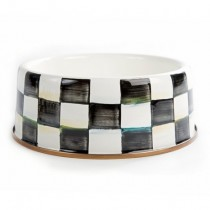 Buy the MacKenzie Childs Courtly Check Enamel Dog Bowl online at smithsofloughton.com