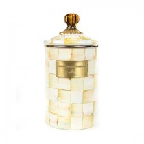 Buy the MacKenzie Childs Parchment Check Canister Large online at smithsofloughton.com