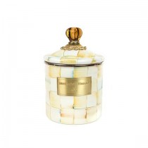 Buy the MacKenzie Childs Parchment Check Canister Small online at smithsofloughton.com