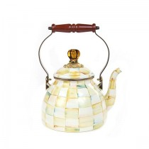 Buy the MacKenzie Childs Parchment Check Enamel Kettle 1.85 Litre online at smithsofloughton.com