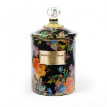 Buy the medium MacKenzie-Childs Black Flower Market Canister online at smithsofloughton.com