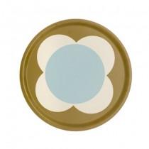 Buy the Orla Kiely Spot Flower Tray Round Olive 38cm online at smithsofloughton.com