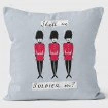 Buy the Shall We Soldier On Grey Alice Tait Cushions 40cm online at smithsofloughton.com