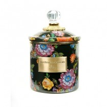 Buy the small MacKenzie-Childs Black Flower Market Canister online at smithsofloughton.com