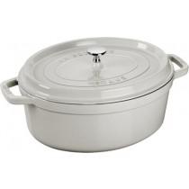 Buy the Staub Cocotte Oval Cast Iron Truffle White 31cm online at smithsofloughton.com