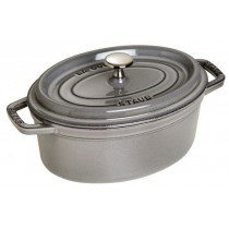 Buy the Staub Gray Oval Cast Iron Cocotte 31cm online at smithsofloughton.com