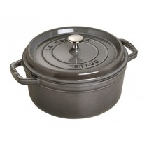 Buy the Staub Gray Round Cast Iron Cocotte 20cm online at smithsofloughton.com