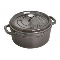 Buy the Staub Gray Round Cast Iron Cocotte 24cm online at smithsofloughton.com
