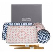 Buy the Tokyo Design Studio Geo Eclectic Plate Set 6 With Chop Sticks online at smithsofloughton.com