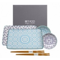 The Tokyo Design Studio Geo Eclectic Plate Set Blue And Purple Online At Smithsofloughton