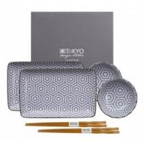 Buy the Tokyo Design Studio Kotobuki Plate Set Blue Hexagonal online at smithsofloughton.com