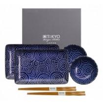 Buy the Tokyo Design Studio Kotobuki Plate Set Blue Swirls online at smithsofloughton.com