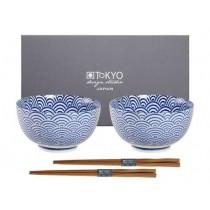 Buy the Tokyo Design Studio Nippon Blue Wave Okonomi Bowl Set online at smithsofloughton.com