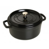Buy this Staub Black Round Cast Iron Cocotte casserole 24cm online at smithsofloughton.com