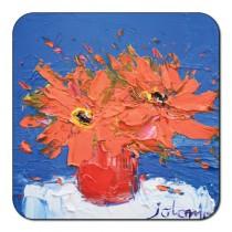 Castle Melamine Orange Flowers Coaster