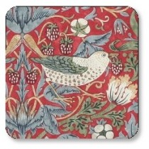 Pimpernel Strawberry Thief Set of 6 Coasters Red