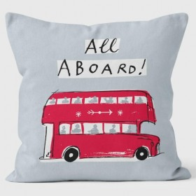 All Aboard Grey Alice Tait Cushions 40cm
