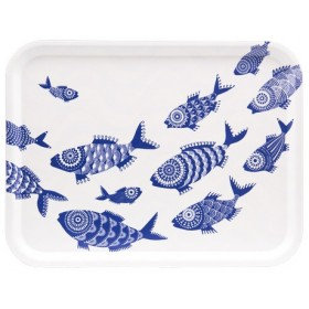 Jamida Asta Barrington Shoal of Fish White Lap Tray 43cm