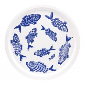 Jamida Asta Barrington Shoal of Fish White Round Drinks Tray 39cm