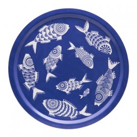 Jamida Shoal of Fish Blue Round Tray 39cm