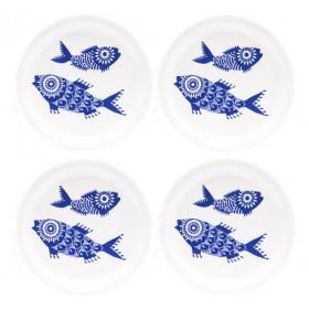 Jamida Asta Barrington Shoal of Fish White 4pc Coasters 11cm