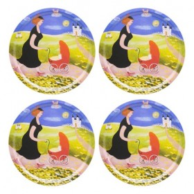 Jamida Bessie Johanson Happiness 4pc Coasters Set 11cm