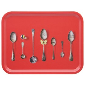 Jamida Michael Angove Red Cutlery Design Tray 43cm