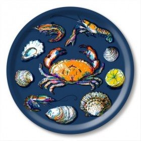 Jamida Michael Angove Seafood Navy Blue Round Tray 39cm