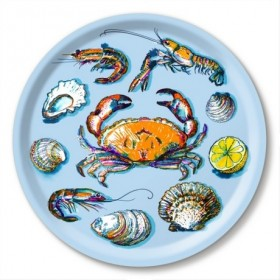 Jamida Michael Angove Seafood Blue Round Tray 39cm