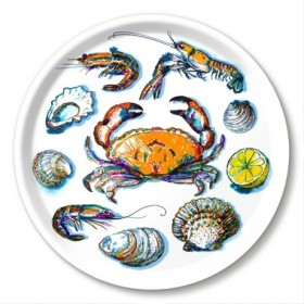 Jamida Michael Angove Seafood White Round Tray 39cm