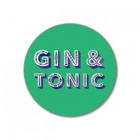 Jamida Word Collection Gin and Tonic Green Coaster 10cm