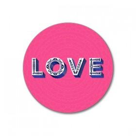 Jamida Word Collection Love Bright Pink Coaster 10cm