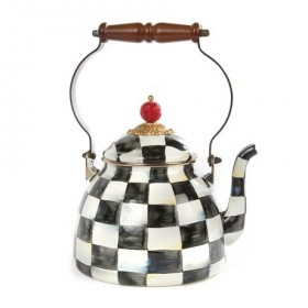 MacKenzie Childs Courtly Check Enamel Kettle - 1.85 Litre